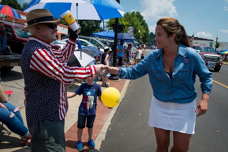 UNITED STATES - July 4: Talley Sergent, who is campaigning to be elected as a House Representative for West Virginia, greets the crowd during the Ripley 4th of July Grand Parade in Ripley, West Virginia Wednesday July 4, 2018. (Photo By Sarah Silbiger/CQ Roll Call)