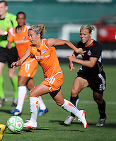 Sky Blue FC midfielder Kacey White (20) make her run, closely followed by Washington Freedom midfielder Lori Lindsey (6) .  Washington Freedom defeated Skyblue FC 2-1  at RFK Stadium, Saturday May 23, 2009.