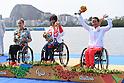 (L-R) Edina Muller (GER), Jeanette Chippington (GBR), Kamila Kubas (POL), <br /> SEPTEMBER 15, 2016 - Canoe : <br /> Women's Canoe Sprint KL1 Medal Ceremony <br /> at Lagoa Stadium<br /> during the Rio 2016 Paralympic Games in Rio de Janeiro, Brazil.<br /> (Photo by AFLO SPORT)