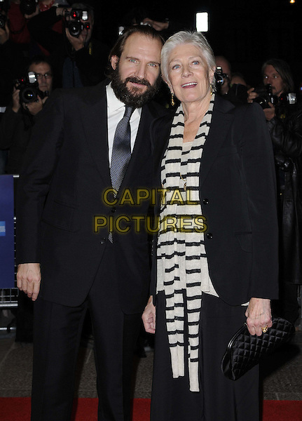 "Ralph Fiennes & Vanessa Redgrave .The ""Coriolanus"" UK premiere, LFF Day 5, Odeon West End cinema, Leicester Square, London, England..October 16th, 2011.half length black suit jacket white striped stripes beard facial hair   .CAP/CAN.©Can Nguyen/Capital Pictures."