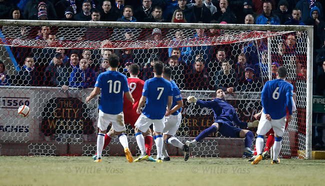 Neil Alexander beaten as Ross Forsyth heads in to score for Stirling Albion