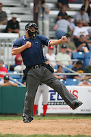 July 4th 2008:  Home plate umpire Aaron Larson during game at Bowman Field in Williamsport, PA.  Photo by:  Mike Janes/Four Seam Images