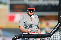Johnson City Cardinals hitting coach George Greer (44) throws batting practice prior to the game against the Burlington Royals at Burlington Athletic Park on August 22, 2015 in Burlington, North Carolina.  The Cardinals defeated the Royals 9-3. (Brian Westerholt/Four Seam Images)