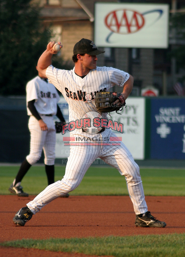 August 20, 2003:  Jack Hannahan of the Erie Seawolves, Class-AA affiliate of the Detroit Tigers, during a Eastern League game at Jerry Uht Park in Erie, PA.  Photo by:  Mike Janes/Four Seam Images