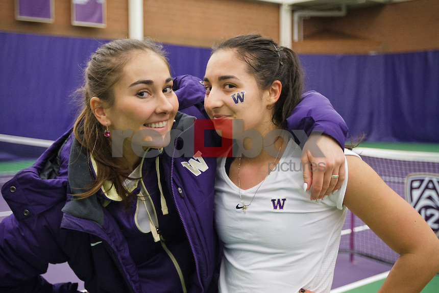 Andjela Nemcevic, Adrijana Pavlovic...------Washington Huskies women's tennis team vs Texas A&M at the Nordstrom Tennis Center in Seattle on Sunday, Februrary 19, 2012. (Photo by Dan DeLong/Red Box Pictures)