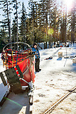 USA, Oregon, Bend, a young boy examines the dog sled while waiting to depart on his sled dog ride at Mt. Bachelor