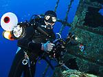 Orchid Island (蘭嶼), Taiwan -- Underwater photographer at Ba Dai Wreck (八代沉船)
