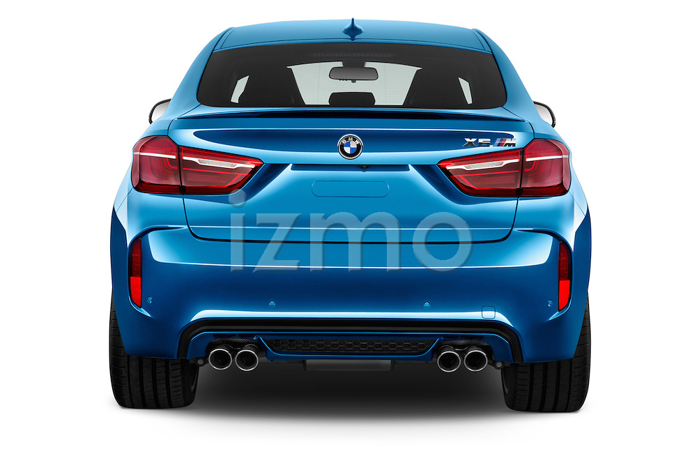 Straight rear view of a 2015 BMW X6 M 4 Door SUV stock images