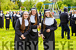 Giggling Nuns, Amy O'Sullivan (Kilflynn), Edel Brown (Lixnaw) and Leanna Roche (Lixnaw) gathering in an attempt to break the Guinness World Record in the Tralee Town Park's fundriaser for the Tralee Rowing Club and Pieta House on Saturday.