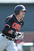 Caleb Hamilton #14 of the Oregon State Beavers runs the bases during a game against the Southern California Trojans at Dedeaux Field on May 23, 2014 in Los Angeles, California. Southern California defeated Oregon State, 4-2. (Larry Goren/Four Seam Images)