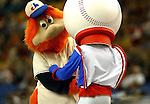 26 May 2002: The Montreal Expos held their first of two retrospective game events, turning back the clock to the 1970s. Their mascot Youppi greets  with their original mascot Souki at Olympic Stadium, in Montreal, Quebec.<br /> <br /> Mandatory Photo Credit: Ed Wolfstein Photo