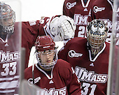 Dan Meyers (UMass - 33), Casey Wellman (UMass - 7), Paul Dainton (UMass - 31) - The Boston College Eagles defeated the University of Massachusetts-Amherst Minutemen 2-1 (OT) on Friday, February 26, 2010, at Conte Forum in Chestnut Hill, Massachusetts.