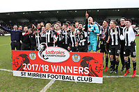 St Mirren celebrate after winning the Scottish Professional Football League Ladbrokes Championship at the Paisley 2021 Stadium, Paisley on 14.4.18.