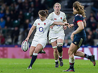 Katy McLean in action, England Women v France Women in a 6 Nations match at Twickenham Stadium, London, England, on 4th February 2017 Final Score 26-13.