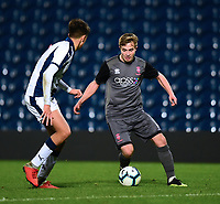 Lincoln City U18's Max Gee vies for possession with West Bromwich Albion U18's Zak Brown<br /> <br /> Photographer Andrew Vaughan/CameraSport<br /> <br /> FA Youth Cup Round Three - West Bromwich Albion U18 v Lincoln City U18 - Tuesday 11th December 2018 - The Hawthorns - West Bromwich<br />  <br /> World Copyright &copy; 2018 CameraSport. All rights reserved. 43 Linden Ave. Countesthorpe. Leicester. England. LE8 5PG - Tel: +44 (0) 116 277 4147 - admin@camerasport.com - www.camerasport.com