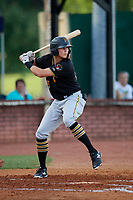 Bristol Pirates right fielder Conner Uselton (25) at bat during a game against the Elizabethton Twins on July 28, 2018 at Joe O'Brien Field in Elizabethton, Tennessee.  Elizabethton defeated Bristol 5-0.  (Mike Janes/Four Seam Images)