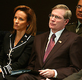 Assistant to the President for Homeland Security and Counterterrorism Frances Fragos Townsend, left, and National Security Advisor Stephen Hadley listen closely as United States President George W. Bush makes remarks on the Global War on Terror at the National Guard Memorial Building in Washington, D.C. on February 9, 2006. <br /> Credit: Ron Sachs / CNP