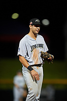 Peoria Javelinas third baseman Hudson Potts (35), of the San Diego Padres organization, during an Arizona Fall League game against the Mesa Solar Sox on September 21, 2019 at Sloan Park in Mesa, Arizona. Mesa defeated Peoria 4-1. (Zachary Lucy/Four Seam Images)