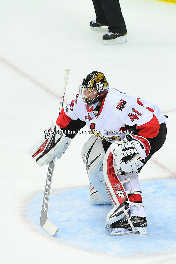 May 25, 2017: Ottawa Senators goalie Craig Anderson (41) works in the paint during game seven of the National Hockey League Eastern Conference Finals between the Ottawa Senators and the Pittsburgh Penguins, held at PPG Paints Arena, in Pittsburgh, PA. The Pittsburgh Penguins defeat the Ottawa Senators 3-2 in double overtime to win the NHL Eastern Conference Championship and advance to face the Nashville Predators in the Stanley Cup Finals.  Eric Canha/CSM