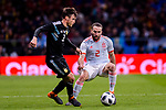 Nicolas Tagliafico of Argentina (L) fights for the ball with Daniel Carvajal of Spain (R) during the International Friendly 2018 match between Spain and Argentina at Wanda Metropolitano Stadium on 27 March 2018 in Madrid, Spain. Photo by Diego Souto / Power Sport Images