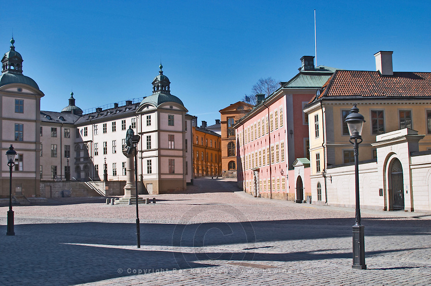 The Wrangelska Palatset on Riddarholmen, seat of Svea Hovratt, the appeals court, dating back to the 16th century. The red pink Stenbockska Palatset on Riddarholmen, seat of the Regeringsrätten court, dating from the 17th century. The yellow Hessensteinska Palatset on Riddarholmen dating from the 17th century. Stockholm. Sweden, Europe.