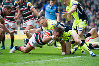 George McGuigan of Leicester Tigers dives for the try line in the second half. Aviva Premiership match, between Leicester Tigers and Sale Sharks on April 29, 2017 at Welford Road in Leicester, England. Photo by: Patrick Khachfe / JMP