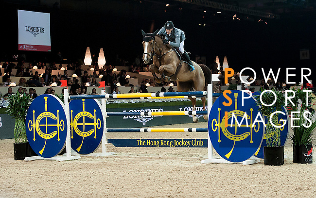 Kevin Staut of France rides Estoy Aqui de Muze HDC at the Longines Grand Prix during the Longines Hong Kong Masters 2015 at the AsiaWorld Expo on 15 February 2015 in Hong Kong, China. Photo by Xaume Olleros / Power Sport Images