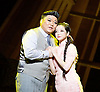 Thunderstorm <br /> by MO Fan <br /> based on the drama by Cao Yu <br /> Shanghai Opera House at The London Coliseum, London, Great Britain <br /> rehearsal <br /> 10th August 2016 <br /> <br /> <br /> <br /> Han Peng as Zhou Ping <br /> <br /> Ji Yunhui as Sifeng <br /> <br /> <br /> <br /> <br /> Photograph by Elliott Franks <br /> Image licensed to Elliott Franks Photography Services