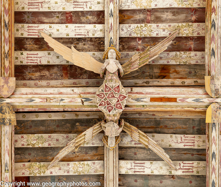 Carved wooden angels in hammer beam roof of Holy Trinity church, Blythburgh, Suffolk, England, UK