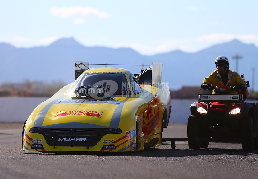 Feb 26, 2017; Chandler, AZ, USA; NHRA funny car driver Matt Hagan during the Arizona Nationals at Wild Horse Pass Motorsports Park. Mandatory Credit: Mark J. Rebilas-USA TODAY Sports