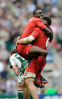 Twickenham, GREAT BRITAIN, Toulouses', Yannick NYANGA, jumps's up onto, team mate, Jean BOUILHOU, after the final whistle with, Toulouse winning against,  London Irish, in the Heineken, Semi Final, Cup Rugby Match, at the Twickenham Stadium on Sat 26.04.2008 [Photo, Peter Spurrier/Intersport-images]