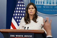 White House Press Secretary Sarah Huckabee Sanders takes questions from reporters during the White House daily press briefing at the White House in Washington, D.C. on April 11, 2018. <br /> CAP/ADM/CNP/AE<br /> &copy;AE/CNP/ADM/Capital Pictures