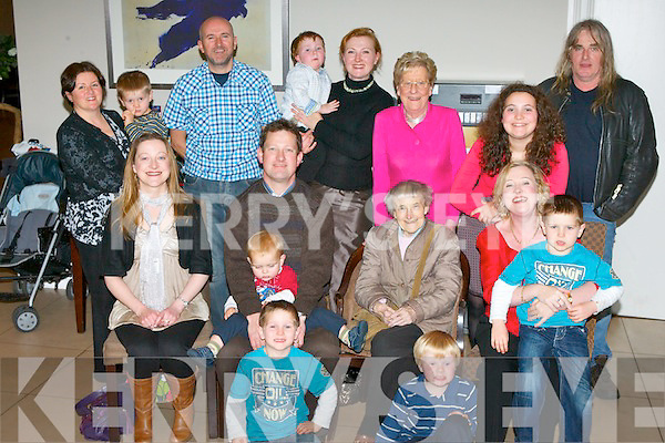 Catherine Hurley, Killarney who celebrated her 80th birthday with her family in the Killarney Oaks Hotel on Saturday night front row l-r: Dara Hurley, Sean Hurley-Lyne. Middle row: Davina, David, Mark, Catherine, Mariana Hurley Niall Hurley. Back row: Mary and David Hurley, Larry Bolger, Lorraine and Joseph Hurley-Lyne, Sheila O'Donoghue, Maeve Bolger and Mike Walsh ..