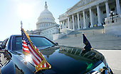 United States President Donald J. Trump's limousine is seen outside of the U.S. Capitol Building as Trump meets inside with the Senate Republican caucus, on November 28, 2017 in Washington, D.C. <br /> Credit: Kevin Dietsch / Pool via CNP