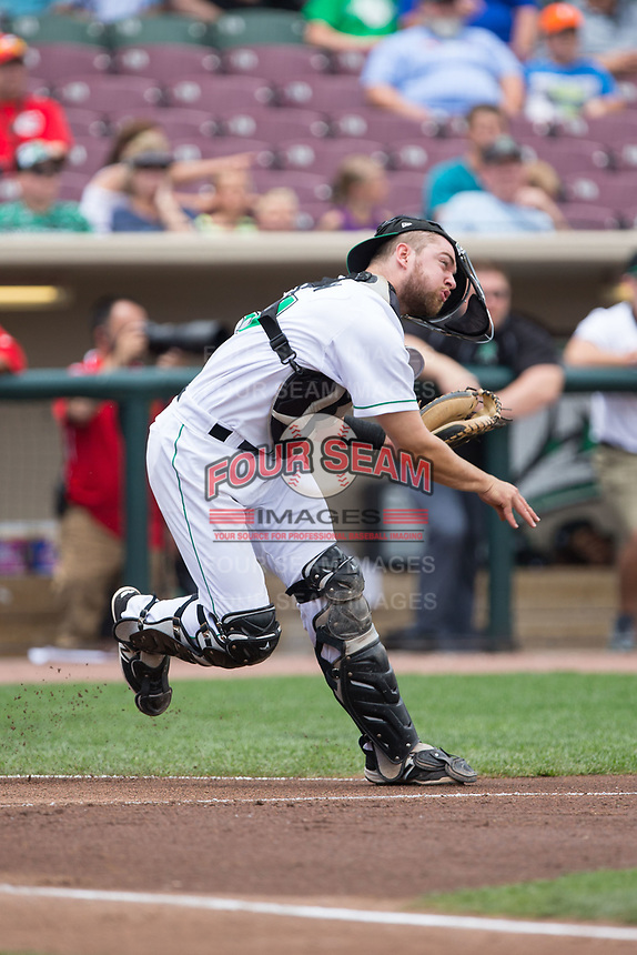 Dayton Dragons Cassidy Brown (39) makes a throw to second base against the West Michigan Whitecaps at Fifth Third Field on May 29, 2017 in Dayton, Ohio.  The Dragons defeated the Whitecaps 4-2.  (Brian Westerholt/Four Seam Images)