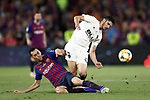 FC Barcelona's Sergio Busquets (l) and Valencia CF's Goncalo Guedes during Spanish King's Cup Final match. May 25,2019. (ALTERPHOTOS/Carrusan)