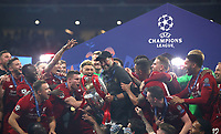 Liverpopol's coach Jurgen Klopp holds up the trophy at the end of the UEFA Champions League final football match between Tottenham Hotspur and Liverpool at Madrid's Wanda Metropolitano Stadium, Spain, June 1, 2019. Liverpool won 2-0.<br /> UPDATE IMAGES PRESS/Isabella Bonotto