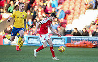 Fleetwood Town's Ashley Nadesan shoots at goal under pressure from Charlton Athletic's Patrick Bauer  <br /> <br /> Photographer Andrew Kearns/CameraSport<br /> <br /> The EFL Sky Bet League One - Fleetwood Town v Charlton Athletic - Saturday 2nd February 2019 - Highbury Stadium - Fleetwood<br /> <br /> World Copyright © 2019 CameraSport. All rights reserved. 43 Linden Ave. Countesthorpe. Leicester. England. LE8 5PG - Tel: +44 (0) 116 277 4147 - admin@camerasport.com - www.camerasport.com