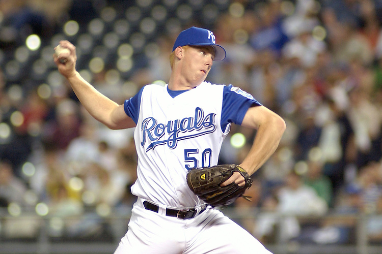 Royals RHP Jason Gilfillan pitches in the seventh inning against Seattle at Kauffman Stadium in Kansas City, Missouri on May 27, 2003. The Mariners won 15-7.