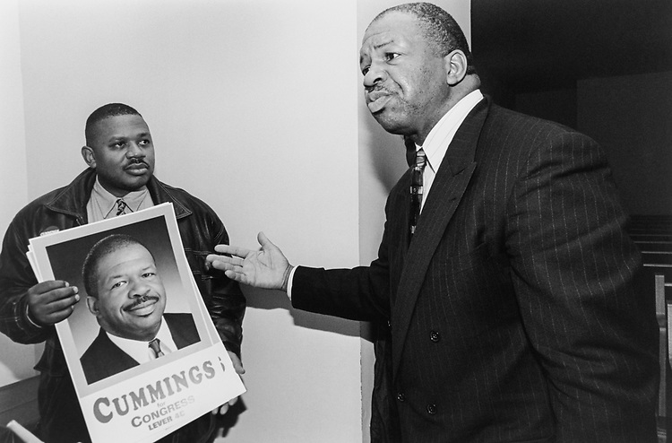 Rep. Elijah Cummings, D-Md. Winner of Democratic Primary of Maryland's 7th Congressional District with a supporter, after forum held at Bibleway Missionary Baptist Church on Feb. 27, 1996. (Photo by Maureen Keating/CQ Roll Call)