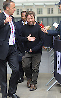 NON EXCLUSIVE PICTURE: MATRIXPICTURES.CO.UK.PLEASE CREDIT ALL USES..WORLD RIGHTS..Pictures show the Hangover 3 cast members outside the BBC radio 1 London studios. ..MAY 23rd 2013..REF: JTX 133498