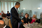 Allentown, PA - December 4, 2009 -- United States President Barack Obama greets patrons during a lunch with small business owners and Allentown Mayor Ed Pawlowski at Hamilton Family Restaurant in Allentown, Pennsylvania, Friday, December 4, 2009. .Mandatory Credit: Pete Souza - White House via CNP