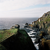 Botallack mine, an old tin mine on cliffs in Cornwall that closed in 1914.