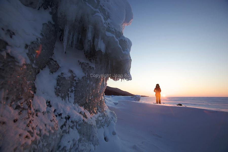 icy sunset on the Baikal lake