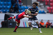 24th March 2018, AJ Bell Stadium, Salford, England; Aviva Premiership rugby, Sale Sharks versus Worcester Warriors; Marland Yarde of Sale Sharks is tackled