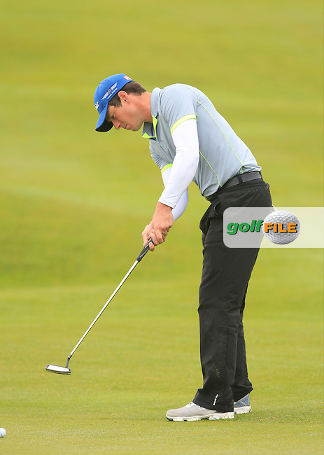 Colin Fairweather (Knock) on the 4th green during Matchplay Semi Final of the South of Ireland Amateur Open Championship at LaHinch Golf Club on Sunday 26th July 2015.<br /> Picture:  Golffile | TJ Caffrey