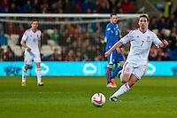 Wednesday 05 March 2014<br /> Pictured: Joe Allen ( with ball) <br /> Re: International friendly Wales v Iceland at the Cardiff City Stadium, Cardiff,Wales UK