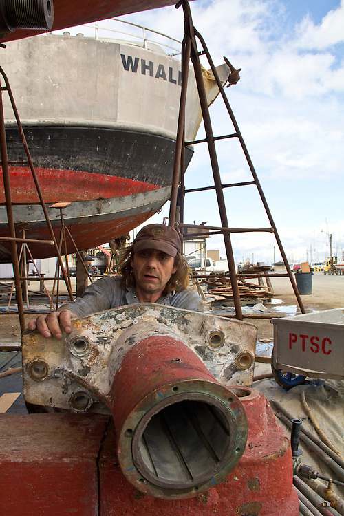 Port Townsend, Boat Haven, boatyard, Port Townsend Shipwrights Co-op, Dean Bozat, fishing vessel, Saturn, Jefferson County, Olympic Peninsula, Puget Sound, Washington State, Pacific Northwest, USA, Shipwrights Portraits,