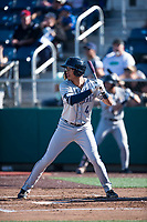 Tri-City Dust Devils right fielder Tre Carter (4) at bat during a Northwest League game against the Everett AquaSox at Everett Memorial Stadium on September 3, 2018 in Everett, Washington. The Everett AquaSox defeated the Tri-City Dust Devils by a score of 8-3. (Zachary Lucy/Four Seam Images)