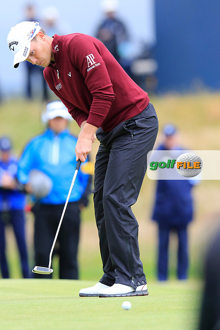 Danny WILLETT (ENG) takes his putt on the 17th green during Monday's Final Round of the 144th Open Championship, St Andrews Old Course, St Andrews, Fife, Scotland. 20/07/2015.<br /> Picture Eoin Clarke, www.golffile.ie